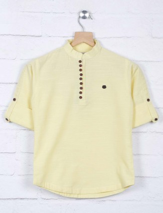 Lemon yellow cotton casual wear shirt