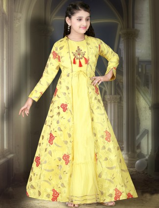 Lemon yellow cotton silk jecket style anarkali suit