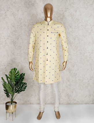 Lemon yellow cotton silk semi indo western