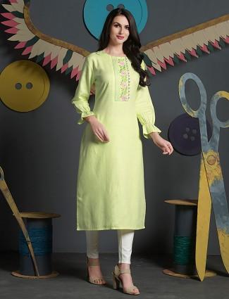 Lemon yellow hue cotton fabric kurti