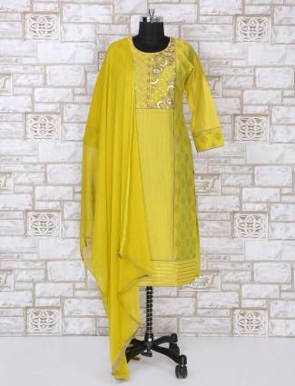 Lemon yellow silk salwar suit