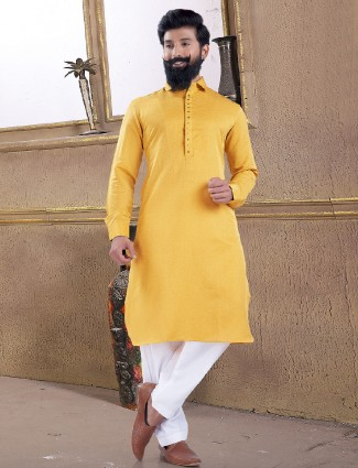 Lemon yellow solid pathani suit
