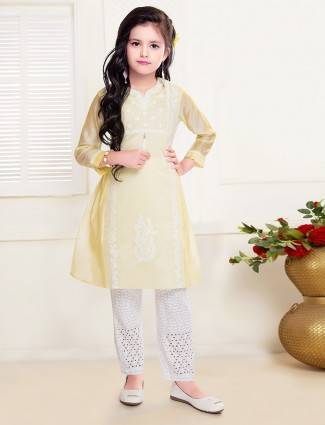 Lemon yellow thread work cotton pant suit