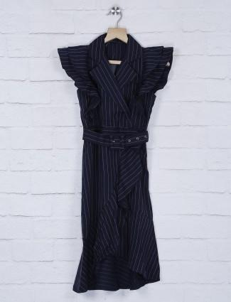 Leo N Babes festive wear navy blue ruffle frock in cotton