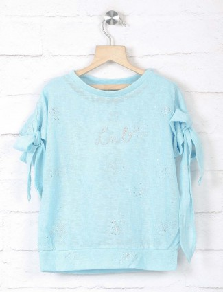 Leo N Babes girls blue top in knitted