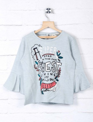 Leo N Babes girls printed grey top
