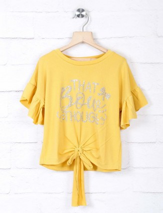 Leo N Babes girls printed yellow georgette top