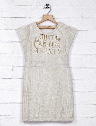 Leo N Babes off white knitted casual top