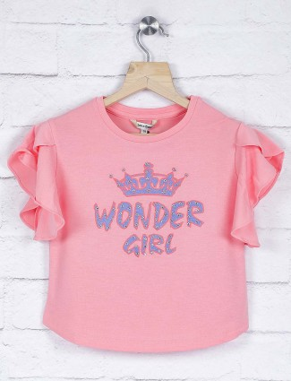 Leo N babes pink color printed cotton casual top