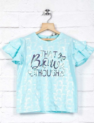 Leo N Babes printed aqua pretty top