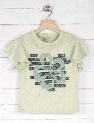Leo N Babes printed light green woolen casual top for little girl