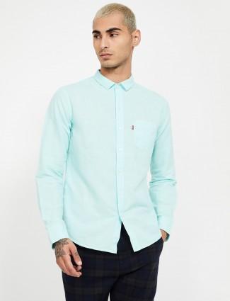 Levis aqua linen solid mens shirt
