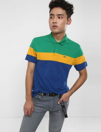 Levis blue and green hued solid t-shirt
