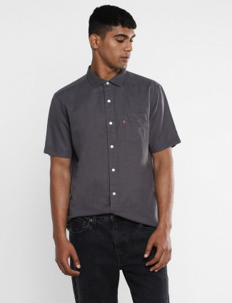 Levis dark grey solid casual wear shirt