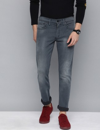 Levis grey solid 65504 skinny fit jeans