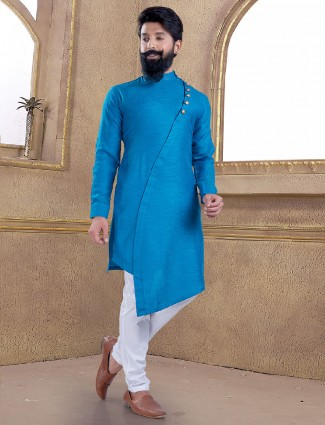 Light blue cotton silk kurta suit