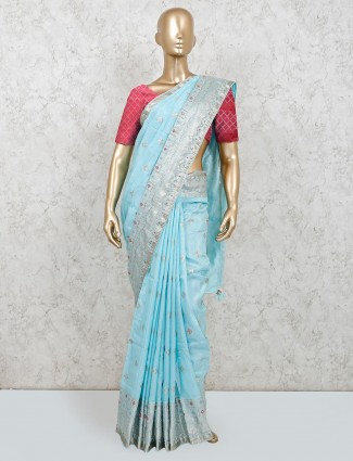 Light blue festive wear saree in muga silk
