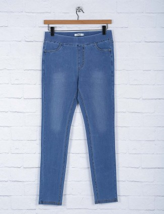 Light blue hue cotton comfortable jeggings