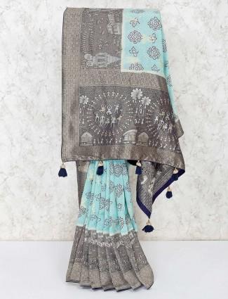 Light blue printed semi silk saree