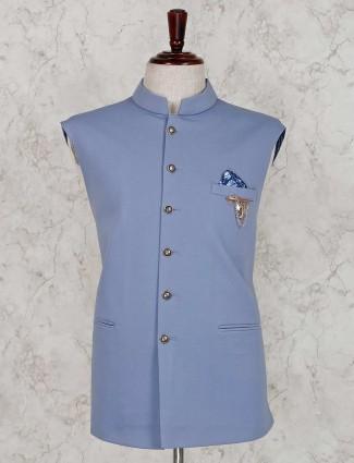 Light blue stand collar waistcoat