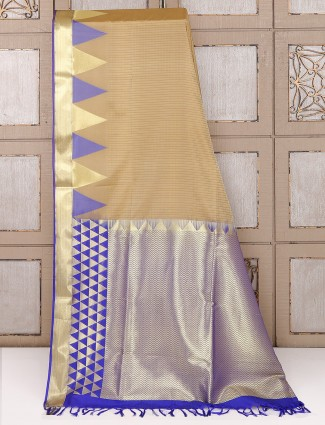 Light brown color simple saree