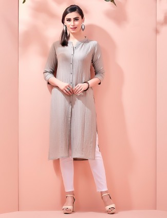 Light brown cotton casual kurti with corduroy