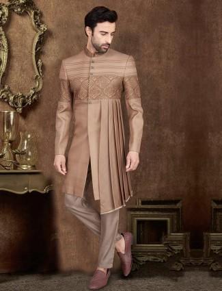 Light brown pleat style silk indo western