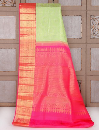 Light green and magenta bridal saree