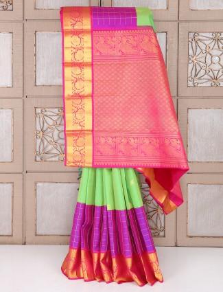 Light green and magenta color silk saree