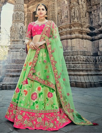Light green and magenta unstitched lehenga choli