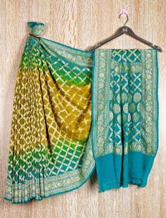 Light green bandhej zari weaving saree