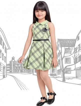 Light green checks pattern frock