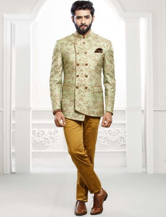Light green colored party wear jodhpuri suit