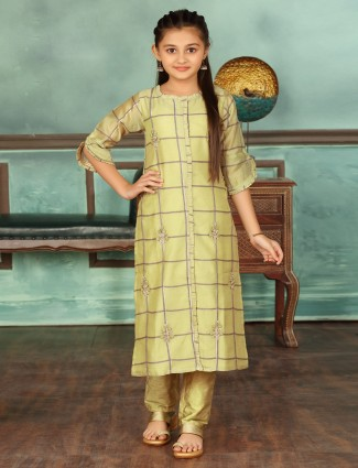 Light green cotton punjabi pant suit