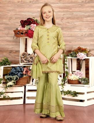Light green cotton silk party wear sharara suit