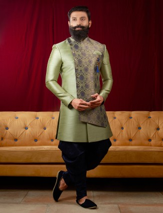 Light green double layer indo western for wedding
