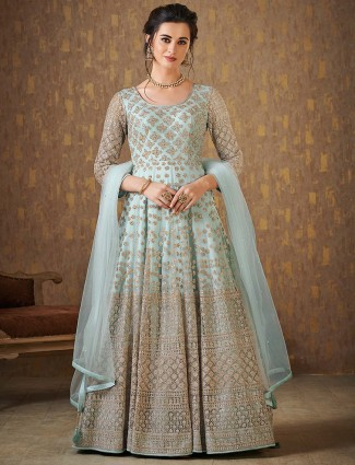 Light green floor length anarkali suit in net