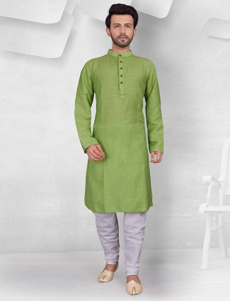 Light green hue cotton kurta suit