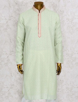 Light green printed cotton silk kurta suit