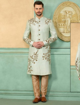 Light green raw silk fabric designer sherwani