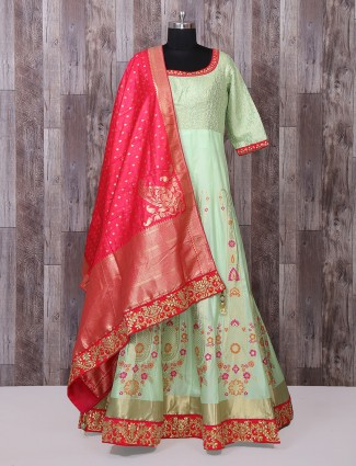 Light green silk long anarkali suit for festive