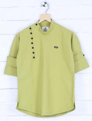 Light green solid cotton kurta
