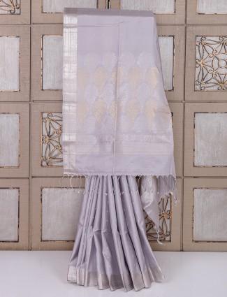 Light grey color simple silk fabric saree