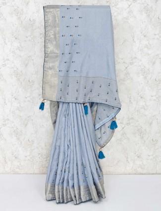 Light grey semi silk saree for festive