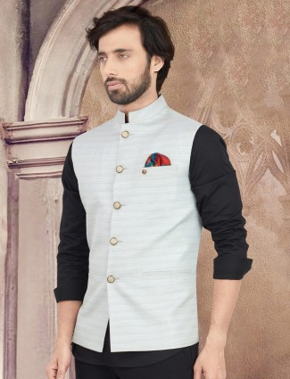 Light grey solid party wear cotton silk waistcoat