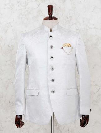 Light grey terry rayon texture printed jodhpurti blazer