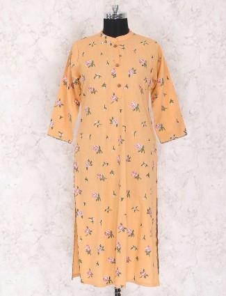 Light orange color cotton kurti