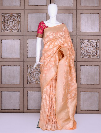 Light peach pure banarasi silk woven saree