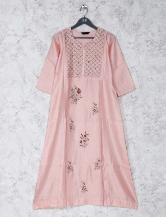 Light pink cotton silk kurti