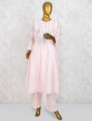Light pink cotton silk punjabi salwar suit